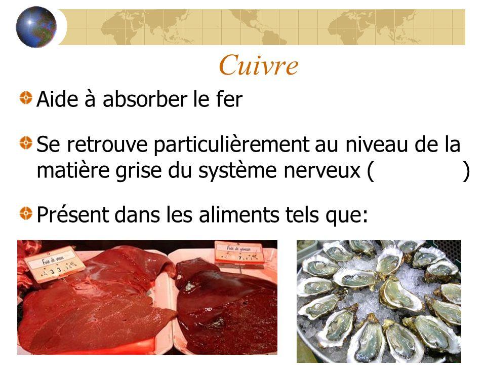 Cuivre Aide à absorber le fer Se retrouve particulièrement au niveau de la matière grise du système nerveux (cerveau) Présent dans les aliments tels que: