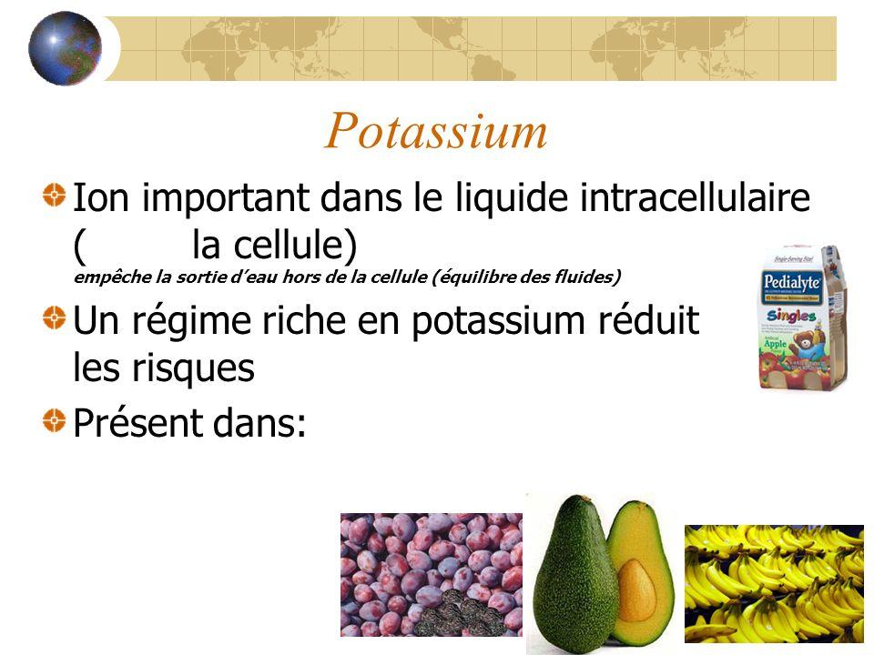 Potassium Ion important dans le liquide intracellulaire (dans la cellule) empêche la sortie deau hors de la cellule (équilibre des fluides) Un régime riche en potassium réduit les risques dhypertension Présent dans: