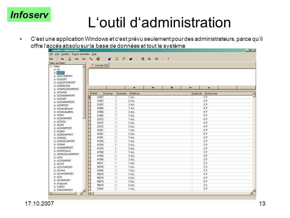 Infoserv 17.10.200713 Loutil dadministration Cest une application Windows et cest prévu seulement pour des administrateurs, parce quil offre laccès absolu sur la base de données et tout le système
