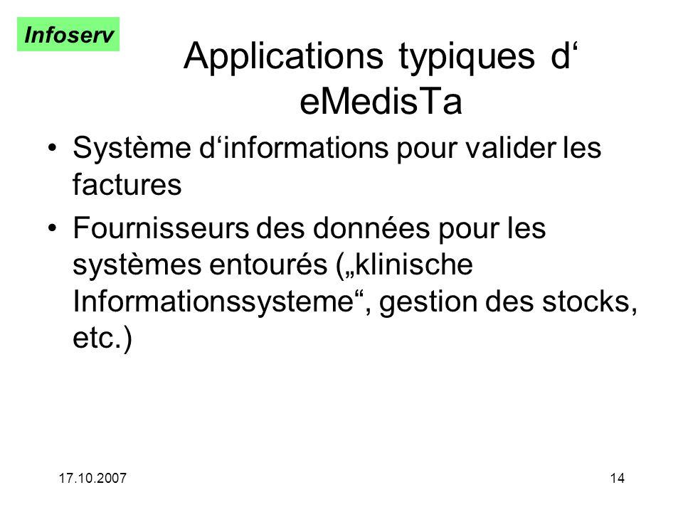 Infoserv 17.10.200714 Applications typiques d eMedisTa Système dinformations pour valider les factures Fournisseurs des données pour les systèmes entourés (klinische Informationssysteme, gestion des stocks, etc.)