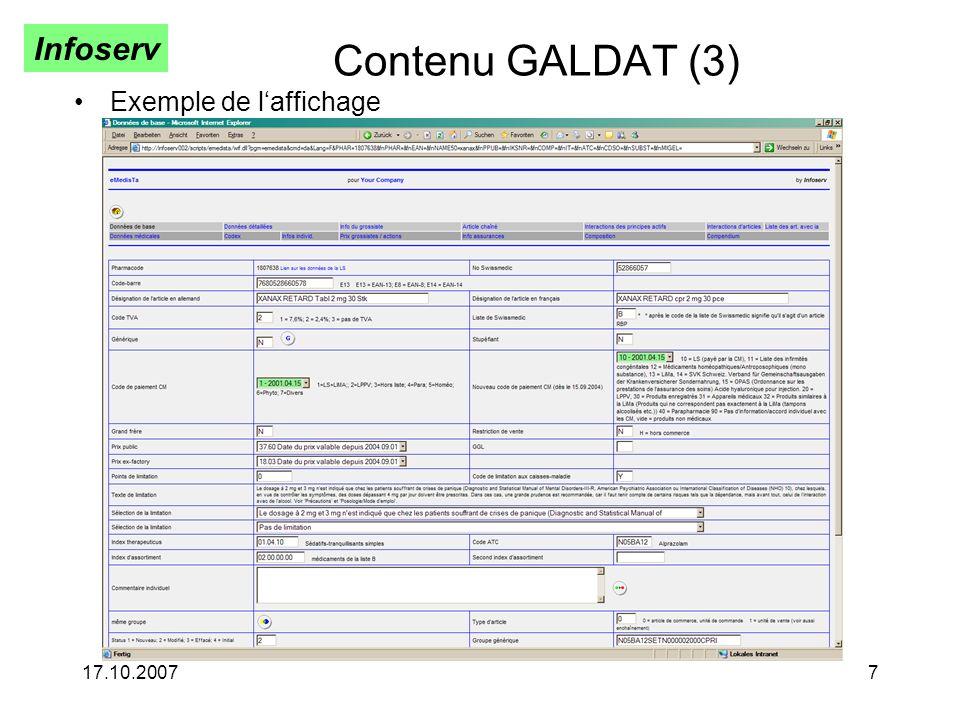 Infoserv 17.10.20077 Contenu GALDAT (3) Exemple de laffichage