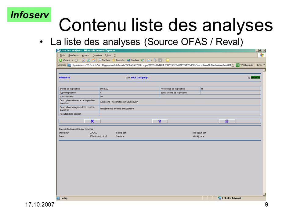 Infoserv 17.10.20079 Contenu liste des analyses La liste des analyses (Source OFAS / Reval)