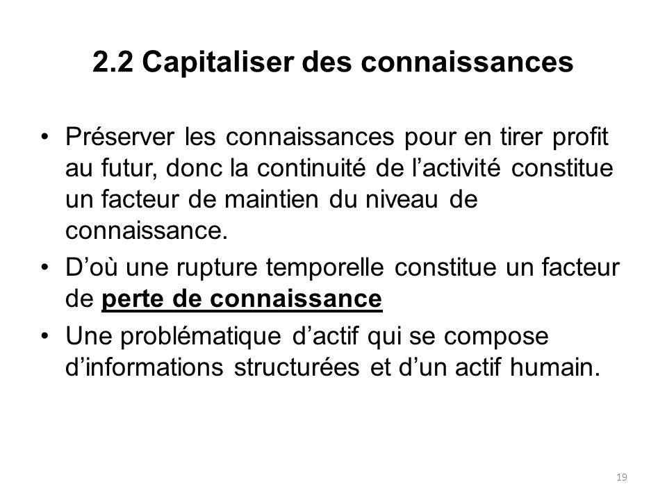 2.2 Capitaliser des connaissances Préserver les connaissances pour en tirer profit au futur, donc la continuité de lactivité constitue un facteur de m