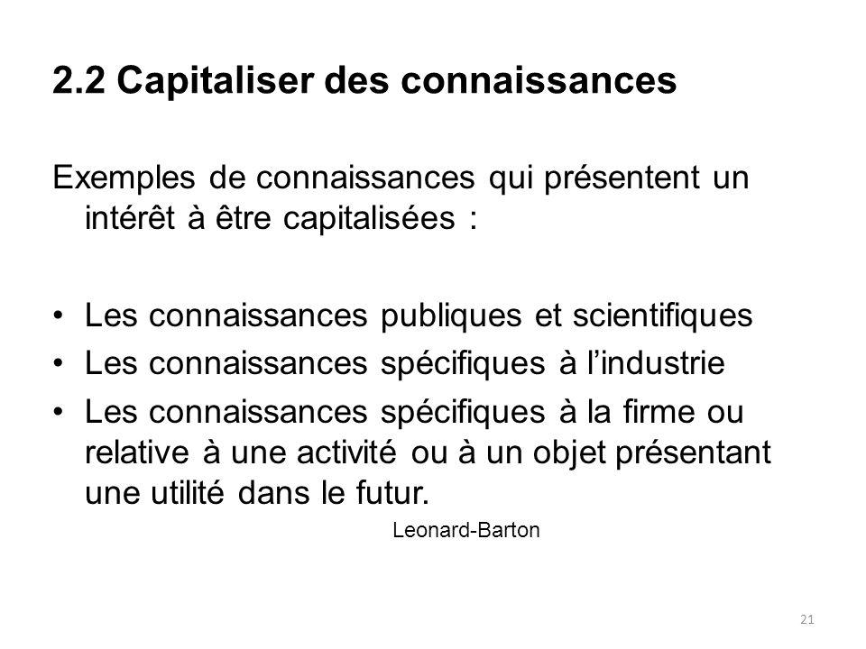 2.2 Capitaliser des connaissances Exemples de connaissances qui présentent un intérêt à être capitalisées : Les connaissances publiques et scientifiqu