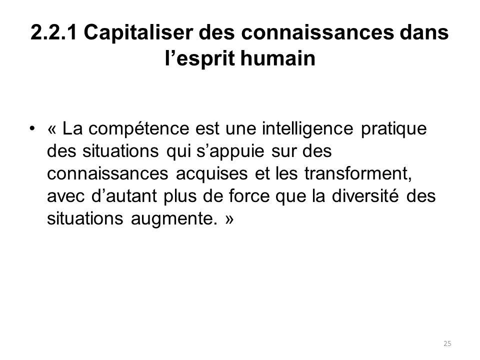 2.2.1 Capitaliser des connaissances dans lesprit humain « La compétence est une intelligence pratique des situations qui sappuie sur des connaissances