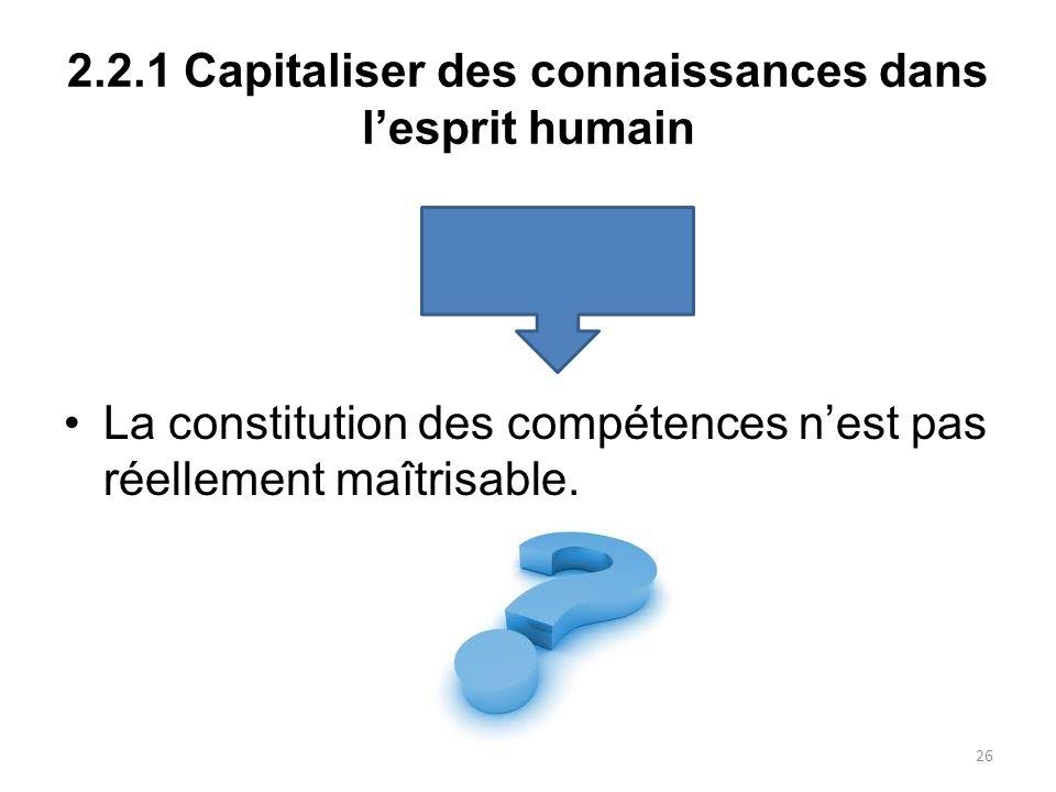 2.2.1 Capitaliser des connaissances dans lesprit humain La constitution des compétences nest pas réellement maîtrisable. 26