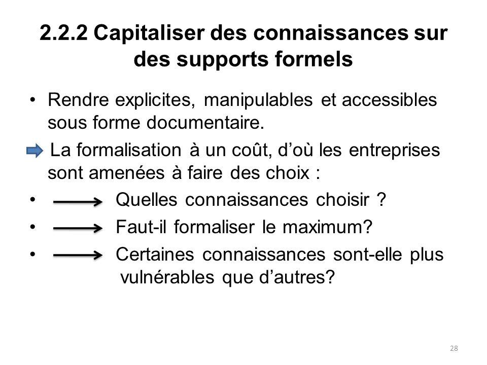 2.2.2 Capitaliser des connaissances sur des supports formels Rendre explicites, manipulables et accessibles sous forme documentaire. La formalisation