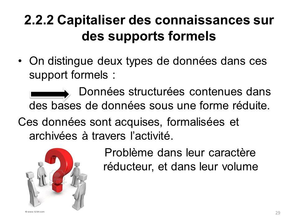 2.2.2 Capitaliser des connaissances sur des supports formels On distingue deux types de données dans ces support formels : Données structurées contenu