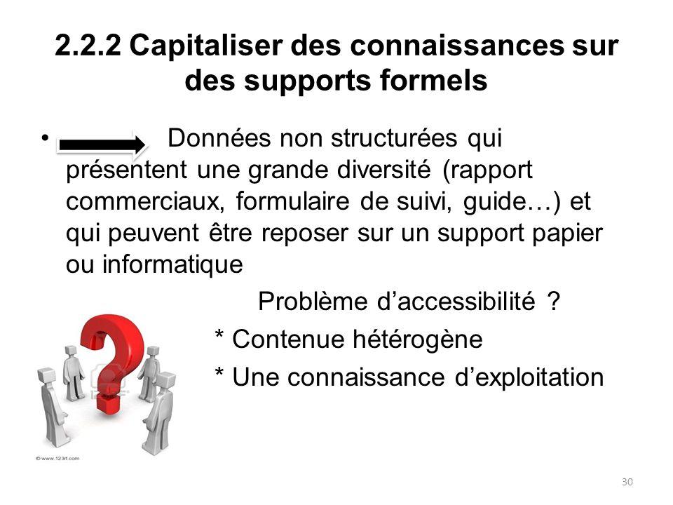2.2.2 Capitaliser des connaissances sur des supports formels Données non structurées qui présentent une grande diversité (rapport commerciaux, formula