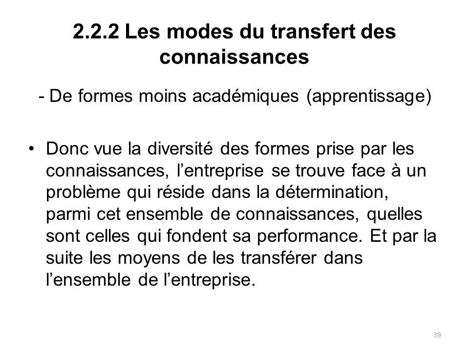 2.2.2 Les modes du transfert des connaissances - De formes moins académiques (apprentissage) Donc vue la diversité des formes prise par les connaissan