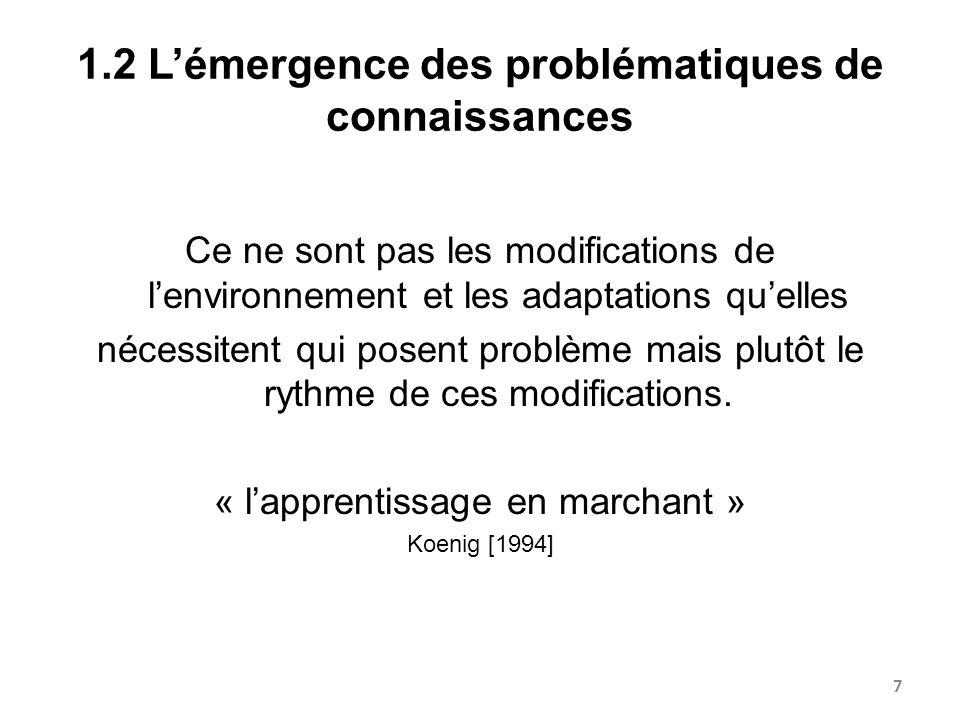 1.2 Lémergence des problématiques de connaissances Ce ne sont pas les modifications de lenvironnement et les adaptations quelles nécessitent qui posen