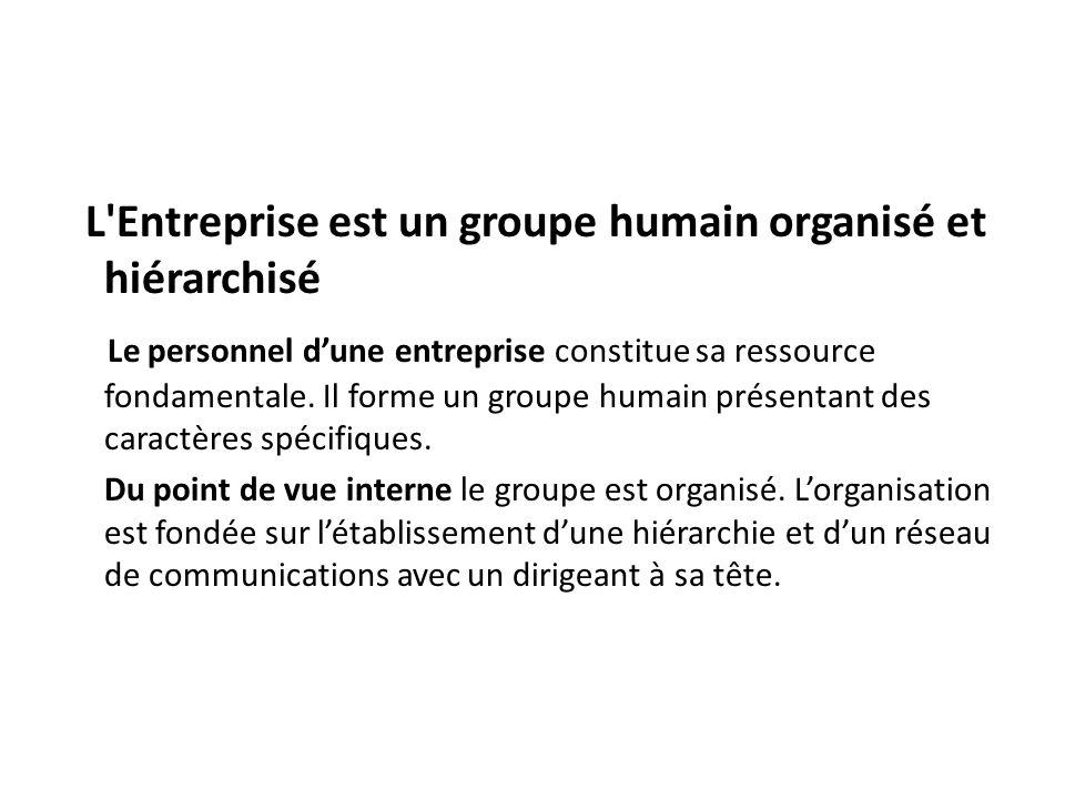 L'Entreprise est un groupe humain organisé et hiérarchisé Le personnel dune entreprise constitue sa ressource fondamentale. Il forme un groupe humain