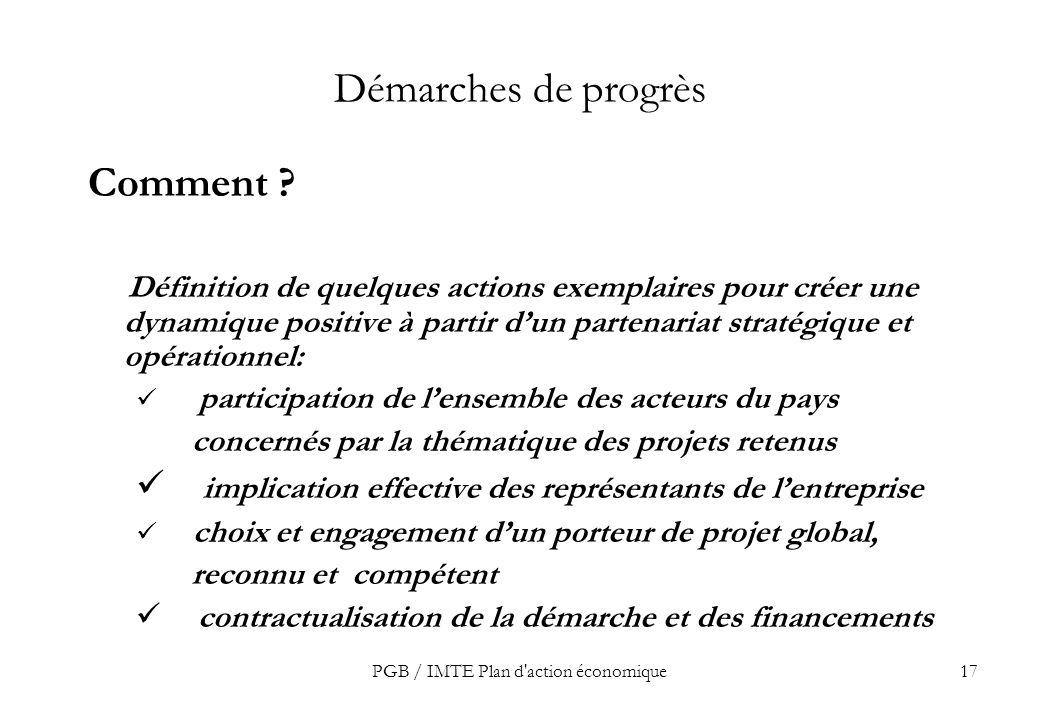 PGB / IMTE Plan d action économique17 Démarches de progrès Comment .