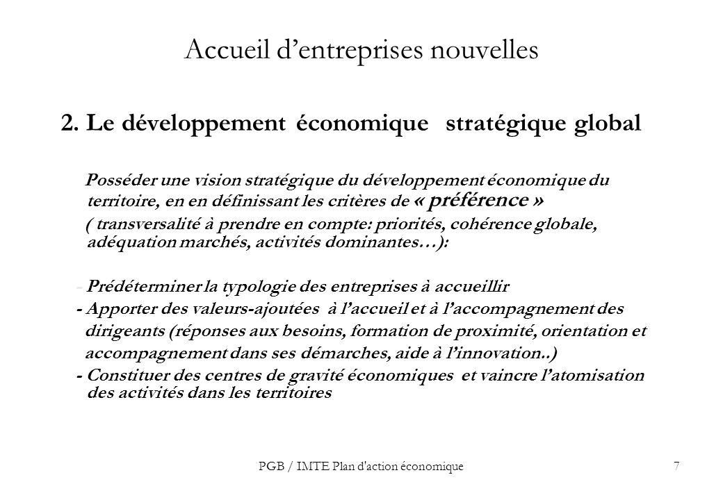 PGB / IMTE Plan d action économique7 Accueil dentreprises nouvelles 2.