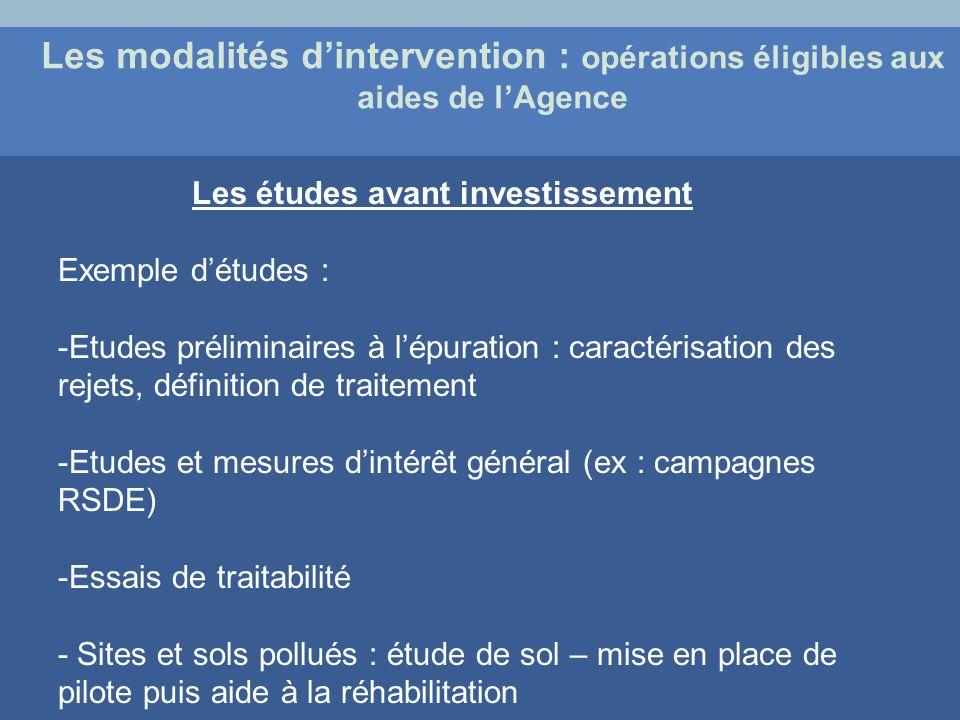 Les modalités dintervention : opérations éligibles aux aides de lAgence Les études avant investissement Exemple détudes : -Etudes préliminaires à lépu