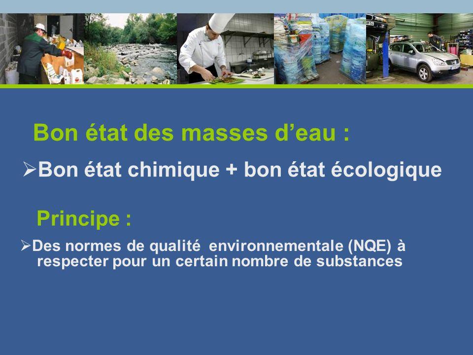Bon état chimique + bon état écologique Bon état des masses deau : Principe : Des normes de qualité environnementale (NQE) à respecter pour un certain