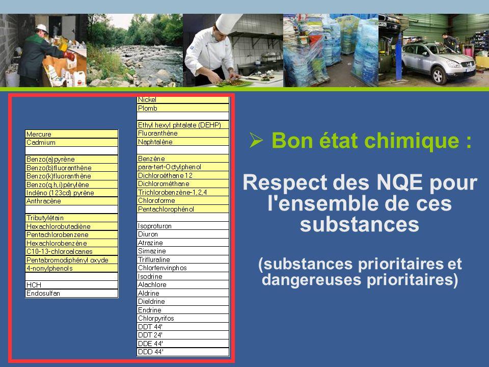 Bon état chimique : Respect des NQE pour l'ensemble de ces substances (substances prioritaires et dangereuses prioritaires)