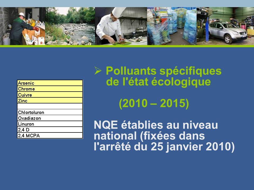 Polluants spécifiques de l'état écologique (2010 – 2015) NQE établies au niveau national (fixées dans l'arrêté du 25 janvier 2010)