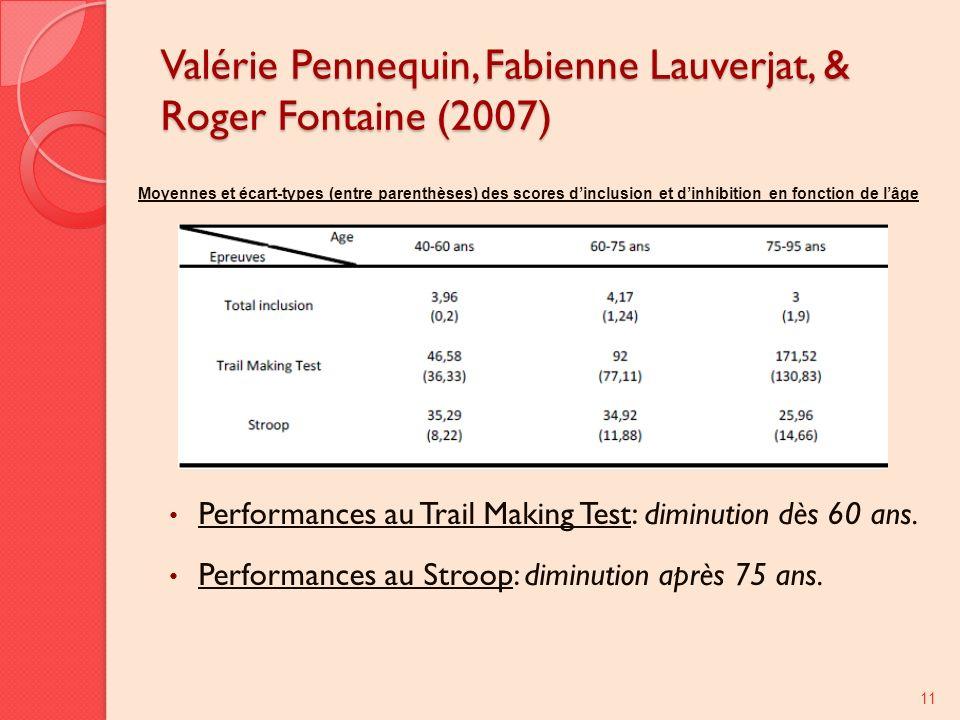 Valérie Pennequin, Fabienne Lauverjat, & Roger Fontaine (2007) Performances au Trail Making Test: diminution dès 60 ans. Performances au Stroop: dimin