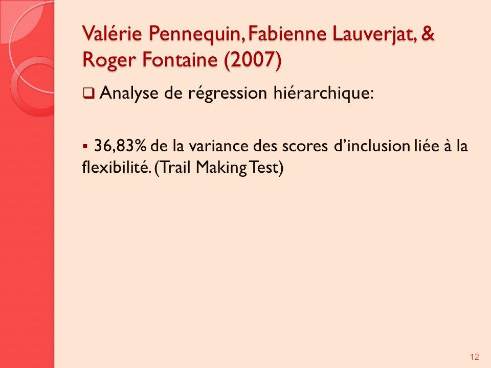 Valérie Pennequin, Fabienne Lauverjat, & Roger Fontaine (2007) Analyse de régression hiérarchique: 36,83% de la variance des scores dinclusion liée à la flexibilité.