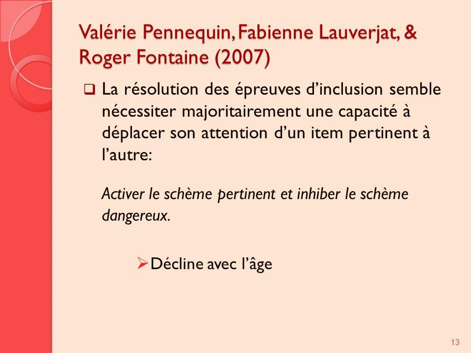 Valérie Pennequin, Fabienne Lauverjat, & Roger Fontaine (2007) La résolution des épreuves dinclusion semble nécessiter majoritairement une capacité à déplacer son attention dun item pertinent à lautre: Activer le schème pertinent et inhiber le schème dangereux.