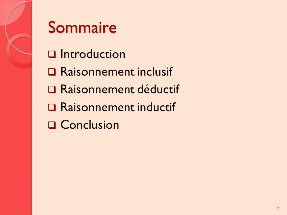 Sommaire Introduction Raisonnement inclusif Raisonnement déductif Raisonnement inductif Conclusion 2