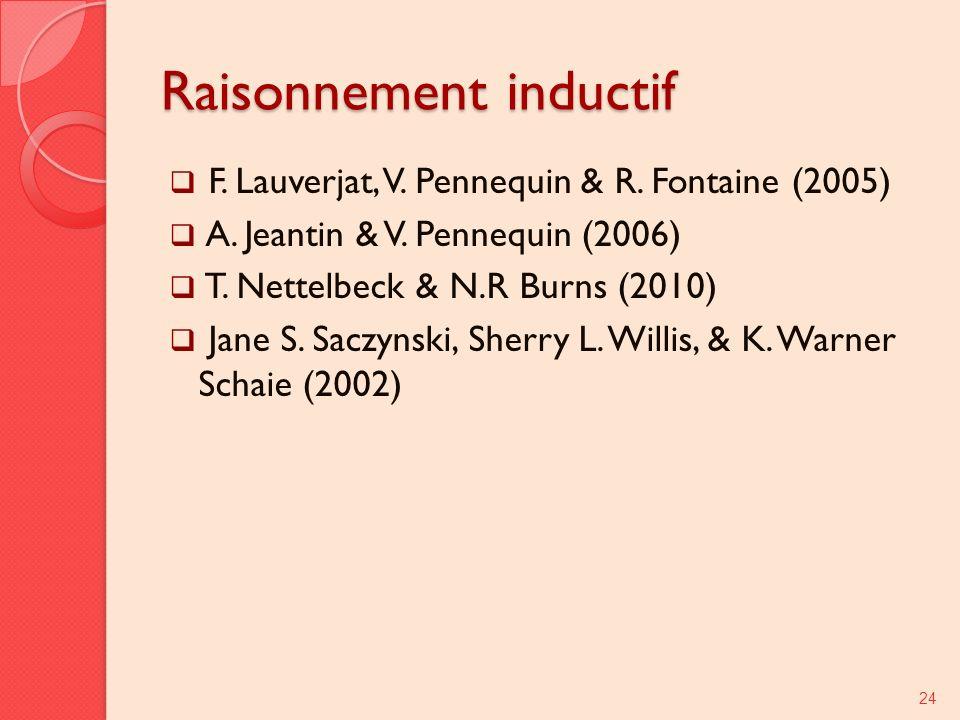 Raisonnement inductif F. Lauverjat, V. Pennequin & R. Fontaine (2005) A. Jeantin & V. Pennequin (2006) T. Nettelbeck & N.R Burns (2010) Jane S. Saczyn