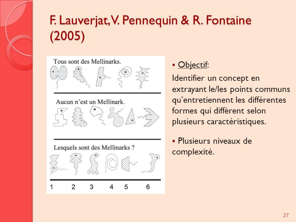 F. Lauverjat, V. Pennequin & R. Fontaine (2005) Objectif: Identifier un concept en extrayant le/les points communs quentretiennent les différentes for