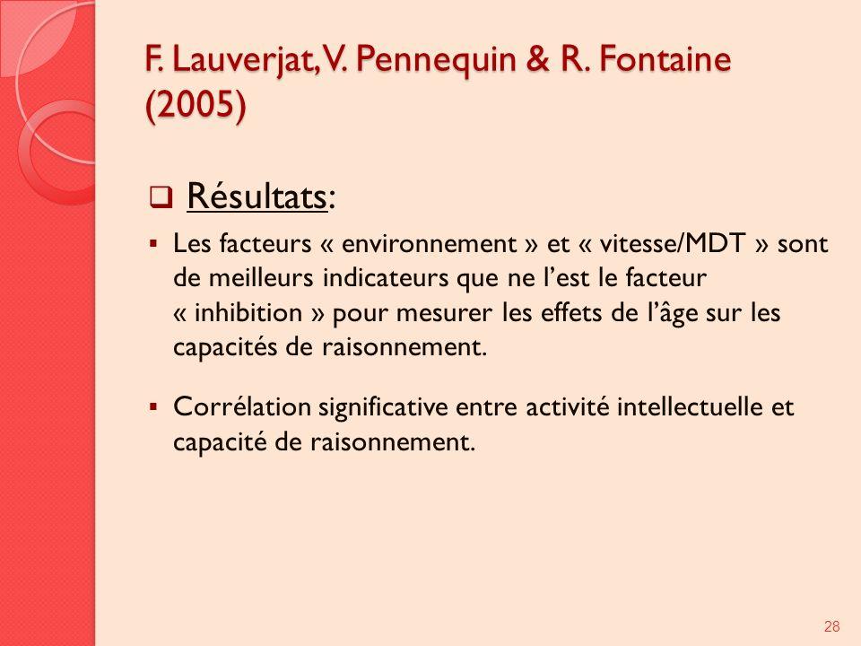 F. Lauverjat, V. Pennequin & R. Fontaine (2005) Résultats: Les facteurs « environnement » et « vitesse/MDT » sont de meilleurs indicateurs que ne lest