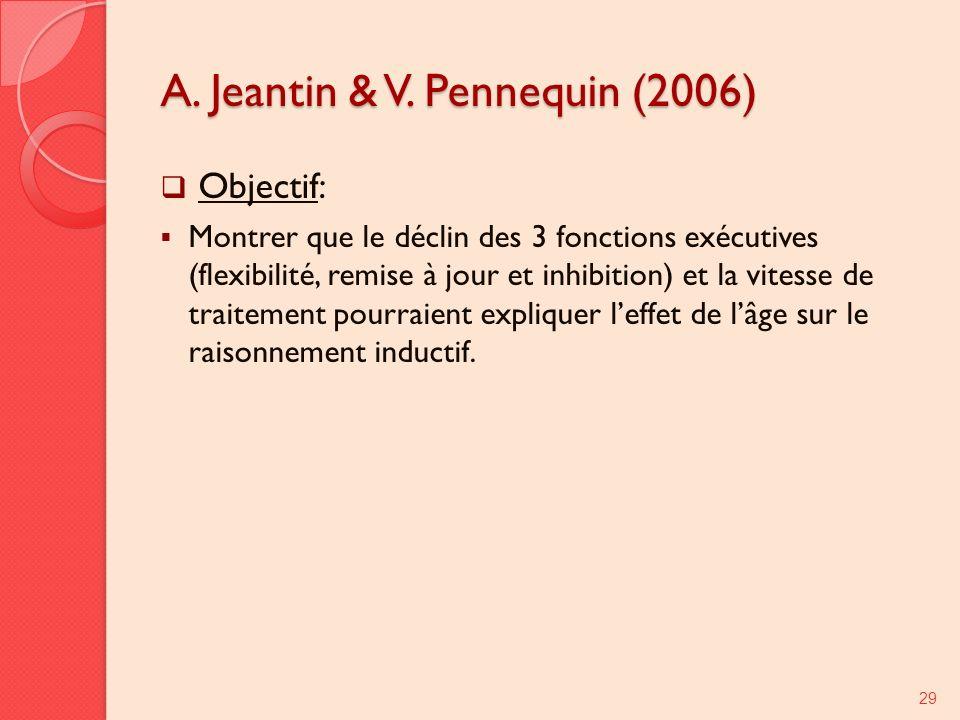 A. Jeantin & V. Pennequin (2006) Objectif: Montrer que le déclin des 3 fonctions exécutives (flexibilité, remise à jour et inhibition) et la vitesse d
