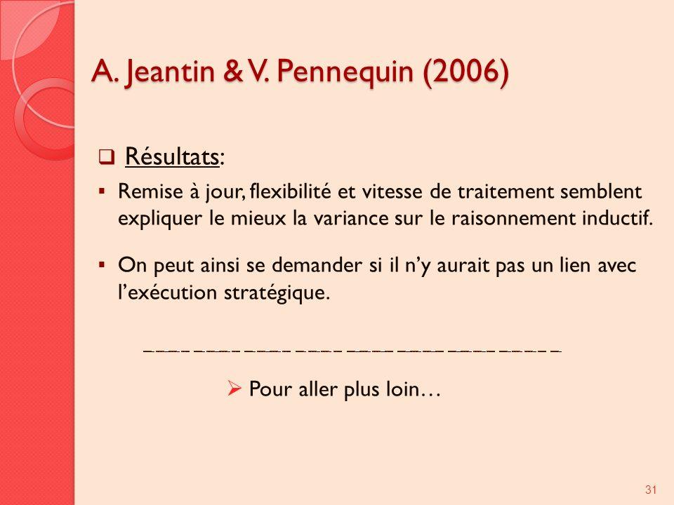 A. Jeantin & V. Pennequin (2006) Résultats: Remise à jour, flexibilité et vitesse de traitement semblent expliquer le mieux la variance sur le raisonn