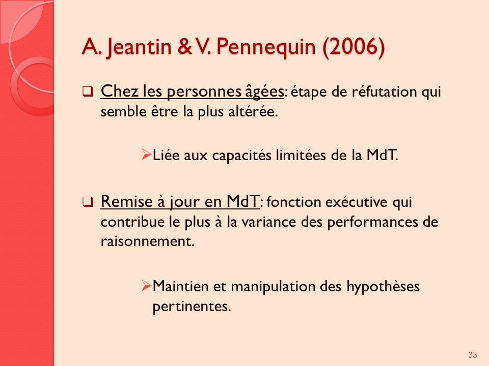 A. Jeantin & V. Pennequin (2006) Chez les personnes âgées : étape de réfutation qui semble être la plus altérée. Liée aux capacités limitées de la MdT
