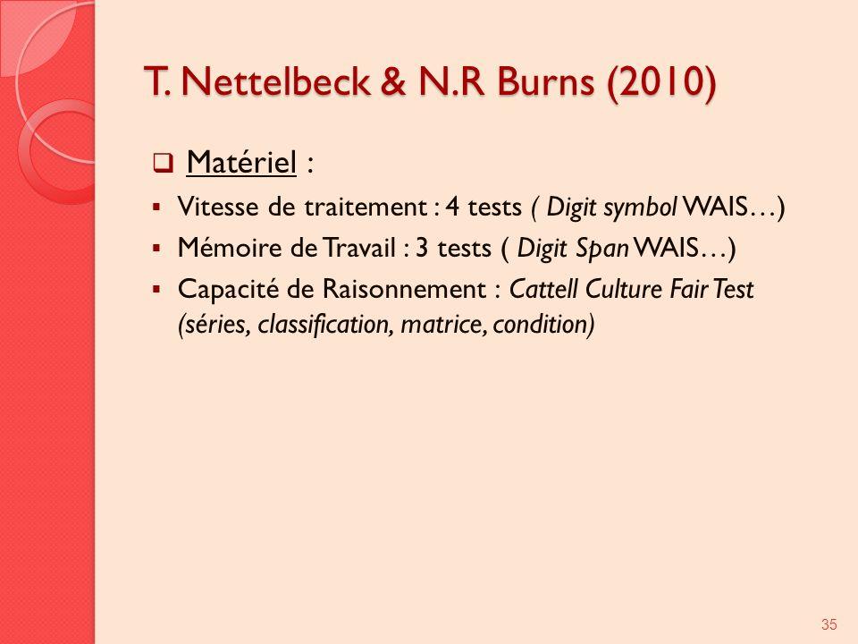 T. Nettelbeck & N.R Burns (2010) Matériel : Vitesse de traitement : 4 tests ( Digit symbol WAIS…) Mémoire de Travail : 3 tests ( Digit Span WAIS…) Cap