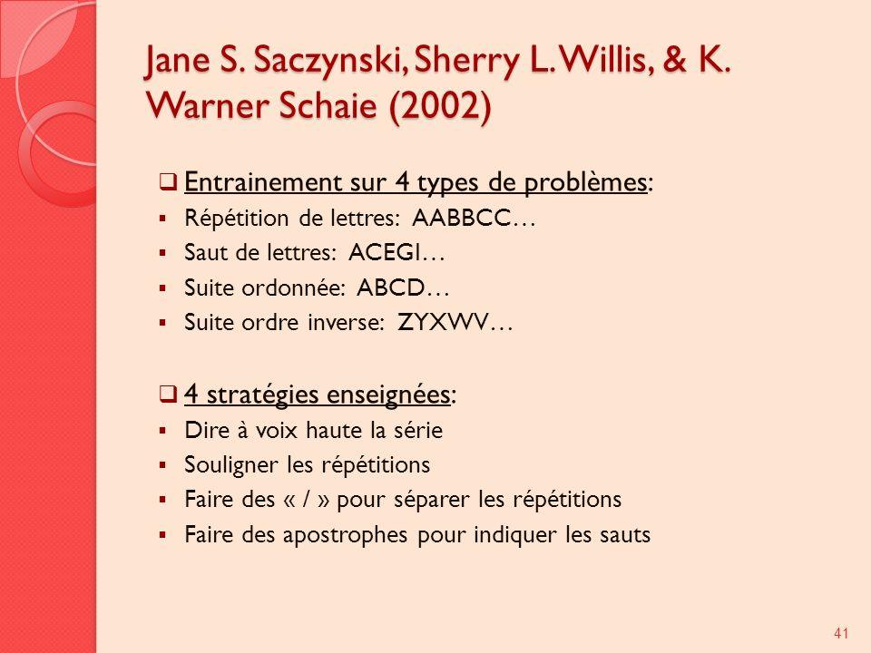 Jane S. Saczynski, Sherry L. Willis, & K. Warner Schaie (2002) Entrainement sur 4 types de problèmes: Répétition de lettres: AABBCC… Saut de lettres: