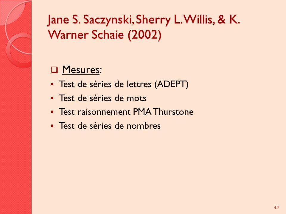 Jane S. Saczynski, Sherry L. Willis, & K. Warner Schaie (2002) Mesures: Test de séries de lettres (ADEPT) Test de séries de mots Test raisonnement PMA