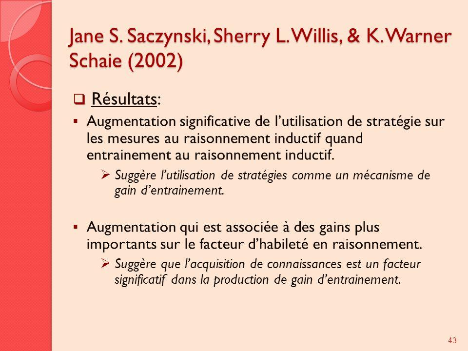 Jane S. Saczynski, Sherry L. Willis, & K. Warner Schaie (2002) Résultats: Augmentation significative de lutilisation de stratégie sur les mesures au r