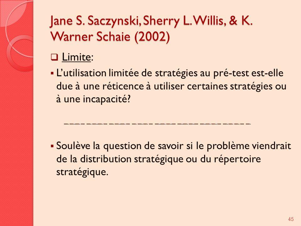 Jane S. Saczynski, Sherry L. Willis, & K. Warner Schaie (2002) Limite: Lutilisation limitée de stratégies au pré-test est-elle due à une réticence à u