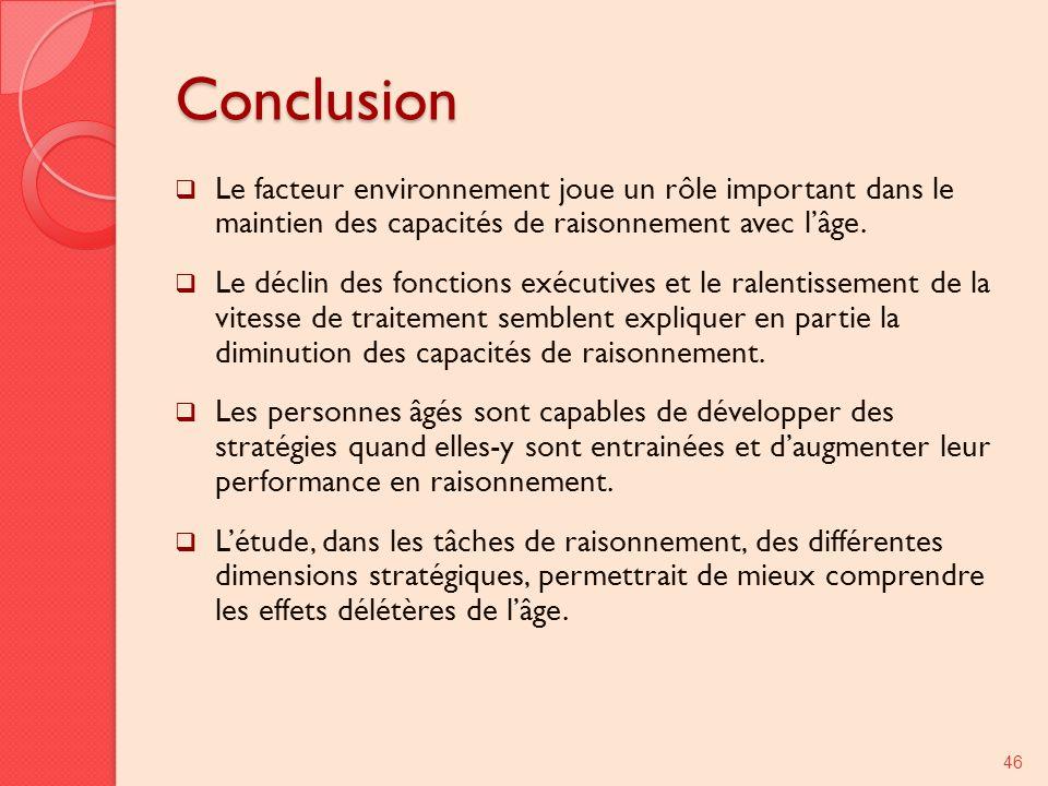 Conclusion Le facteur environnement joue un rôle important dans le maintien des capacités de raisonnement avec lâge. Le déclin des fonctions exécutive