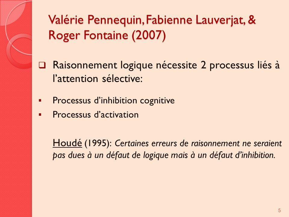 Valérie Pennequin, Fabienne Lauverjat, & Roger Fontaine (2007) Raisonnement logique nécessite 2 processus liés à lattention sélective: Processus dinhibition cognitive Processus dactivation Houdé (1995): Certaines erreurs de raisonnement ne seraient pas dues à un défaut de logique mais à un défaut dinhibition.