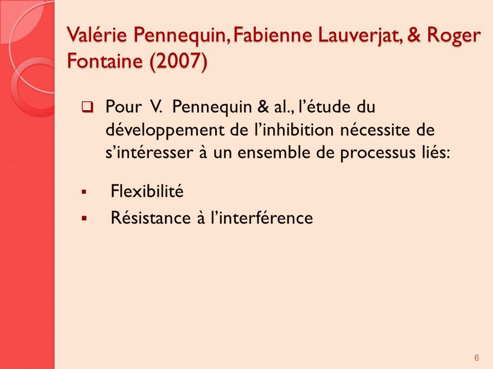 Valérie Pennequin, Fabienne Lauverjat, & Roger Fontaine (2007) Pour V. Pennequin & al., létude du développement de linhibition nécessite de sintéresse