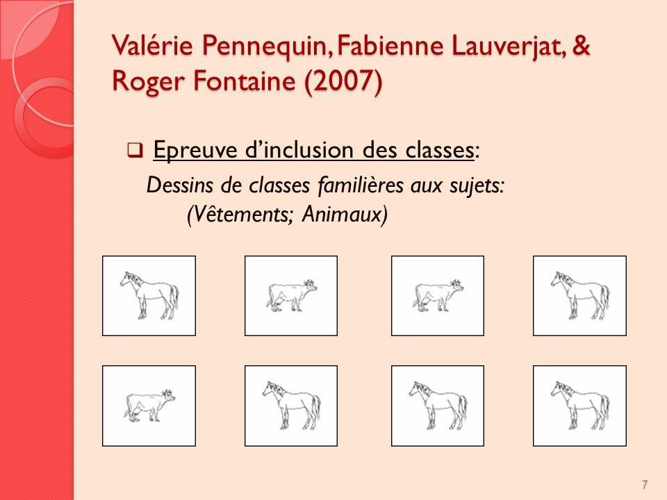 Valérie Pennequin, Fabienne Lauverjat, & Roger Fontaine (2007) Epreuve dinclusion des classes: Dessins de classes familières aux sujets: (Vêtements; Animaux) 7