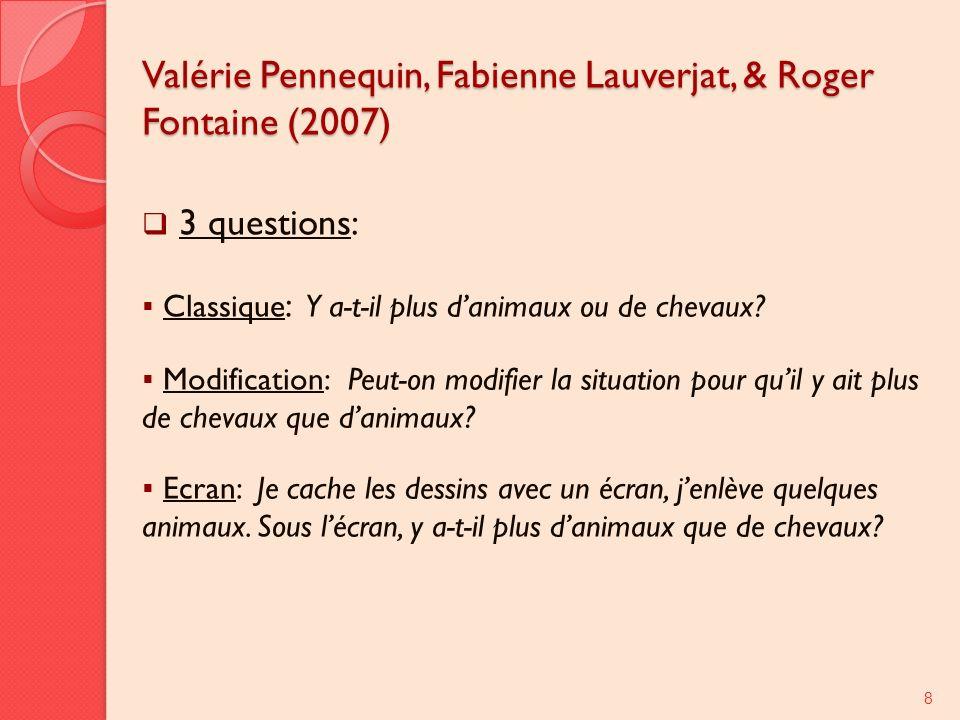 Valérie Pennequin, Fabienne Lauverjat, & Roger Fontaine (2007) 3 questions: Classique : Y a-t-il plus danimaux ou de chevaux? Modification: Peut-on mo