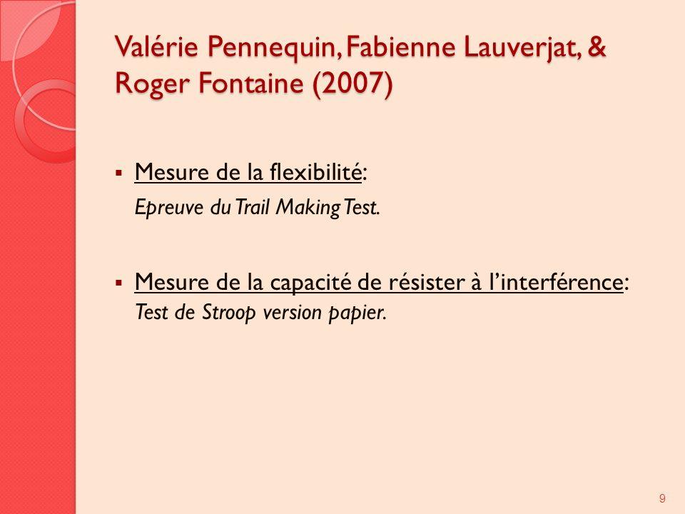 Valérie Pennequin, Fabienne Lauverjat, & Roger Fontaine (2007) Mesure de la flexibilité : Epreuve du Trail Making Test. Mesure de la capacité de résis