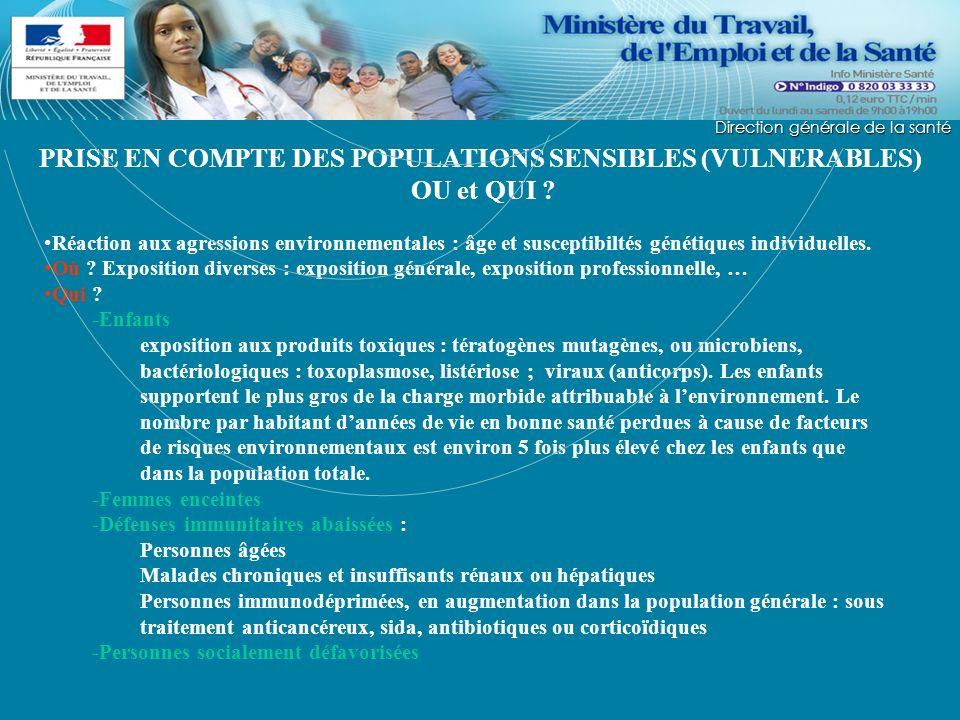 Direction générale de la Santé PRISE EN COMPTE DES POPULATIONS SENSIBLES (VULNERABLES) OU et QUI ? Réaction aux agressions environnementales : âge et