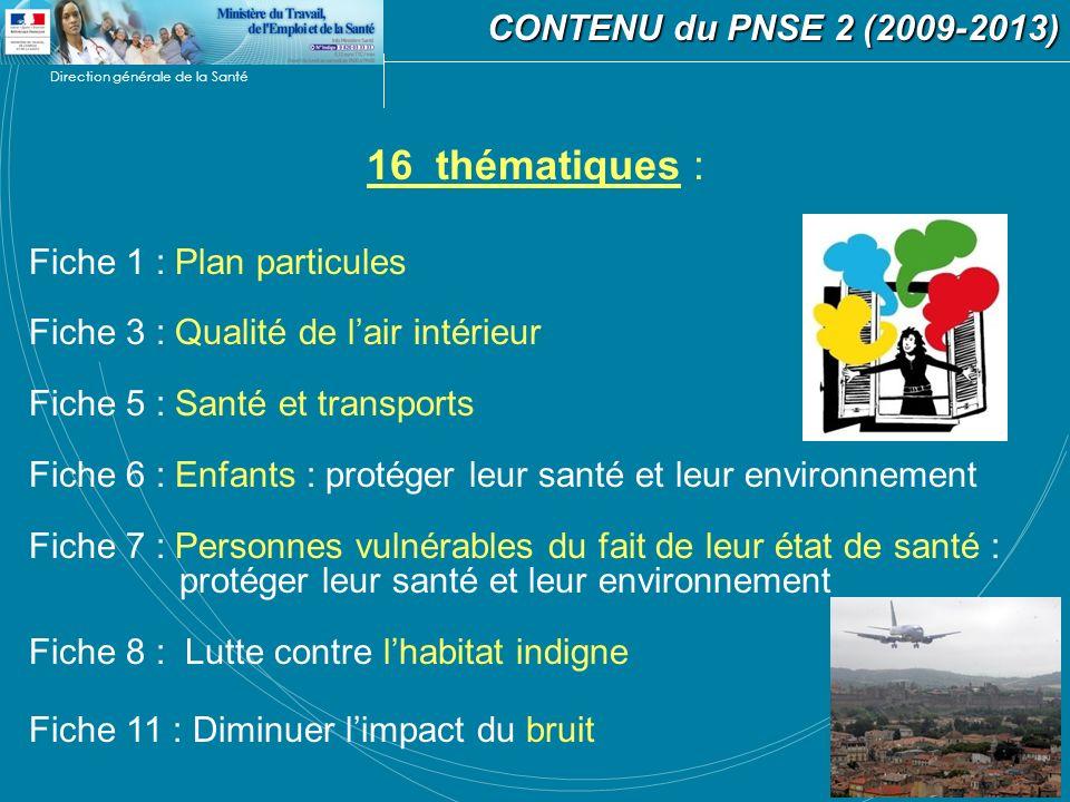 Direction générale de la Santé CONTENU du PNSE 2 (2009-2013) CONTENU du PNSE 2 (2009-2013) 16 thématiques : Fiche 1 : Plan particules Fiche 3 : Qualit