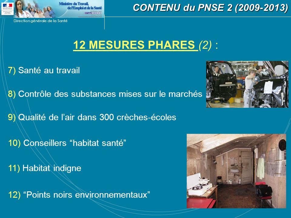 Direction générale de la Santé 12 MESURES PHARES (2) : CONTENU du PNSE 2 (2009-2013) CONTENU du PNSE 2 (2009-2013) 7) Santé au travail 8) Contrôle des