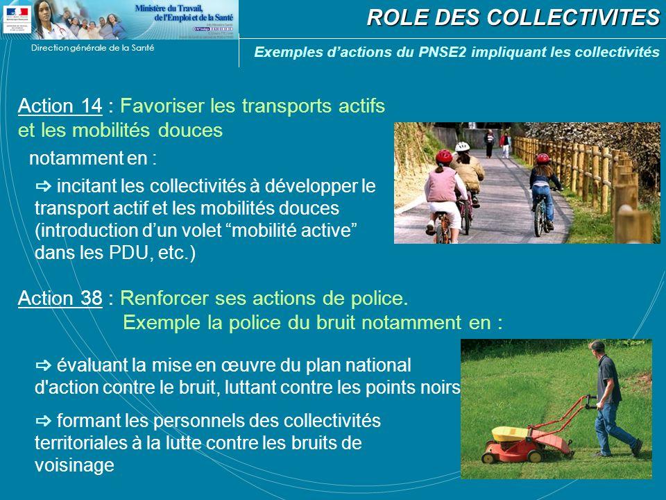 Direction générale de la Santé ROLE DES COLLECTIVITES Action 14 : Favoriser les transports actifs et les mobilités douces notamment en : Action 38 : R