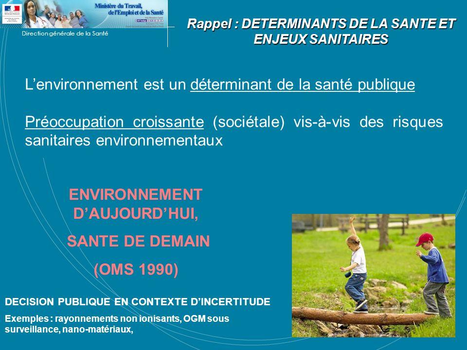 Direction générale de la Santé Lenvironnement est un déterminant de la santé publique Préoccupation croissante (sociétale) vis-à-vis des risques sanit