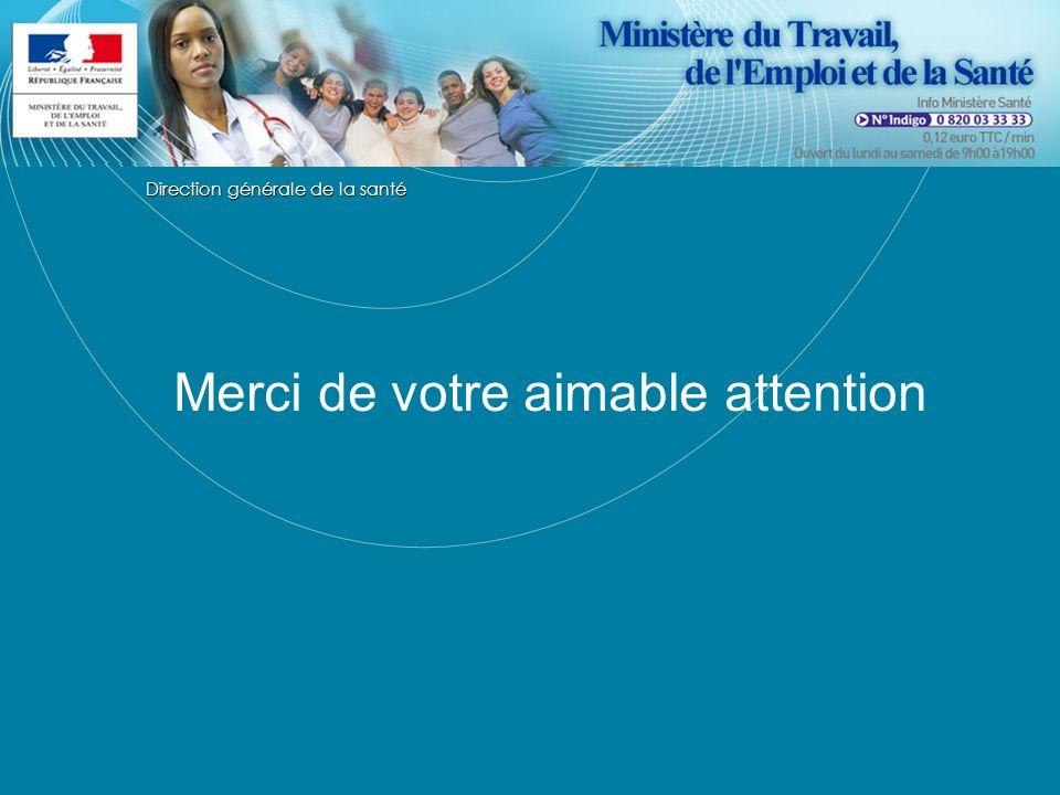 Direction générale de la santé Merci de votre aimable attention