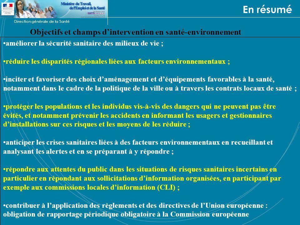 Direction générale de la Santé En résumé Objectifs et champs dintervention en santé-environnement améliorer la sécurité sanitaire des milieux de vie ;